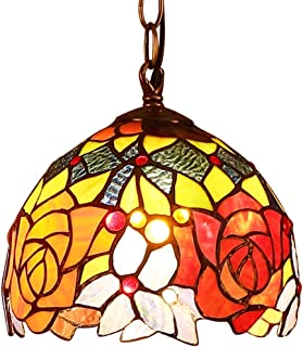 Bieye L10127 Rose Flower Tiffany Style Stained Glass Ceiling Pendant Fixture with 7-inches Wide Lampshade