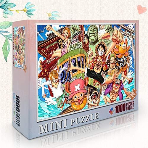 Skwenp Piezas 300/500/1000, juego de puzzles, rompecabezas HD, descompresión Hijos Adultos de juguete rompecabezas, rompecabezas de madera, historieta del Anime japonés One Piece Luffy, del trébol, re