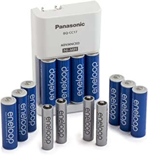 Panasonic K-KJ17MZ104A eneloop Power Pack; 10AA, 4AAA, and Advanced Battery Charger (battery color may vary)
