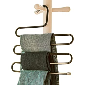 VIFITKIT Stainless Steel Metal S-Shape 5 Layers Magic Multi-Purpose Hanger for Wardrobe, Sarees, Pants, Scarfs and Other Clothes (Black)