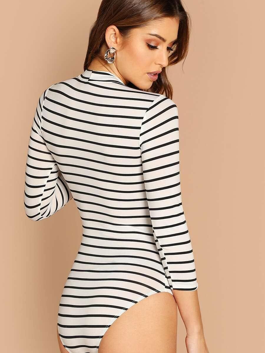 JYMBK Lace Jumpsuit Mock Neck Slim Striped Bodysuit (Color : Black and White, Size : L)