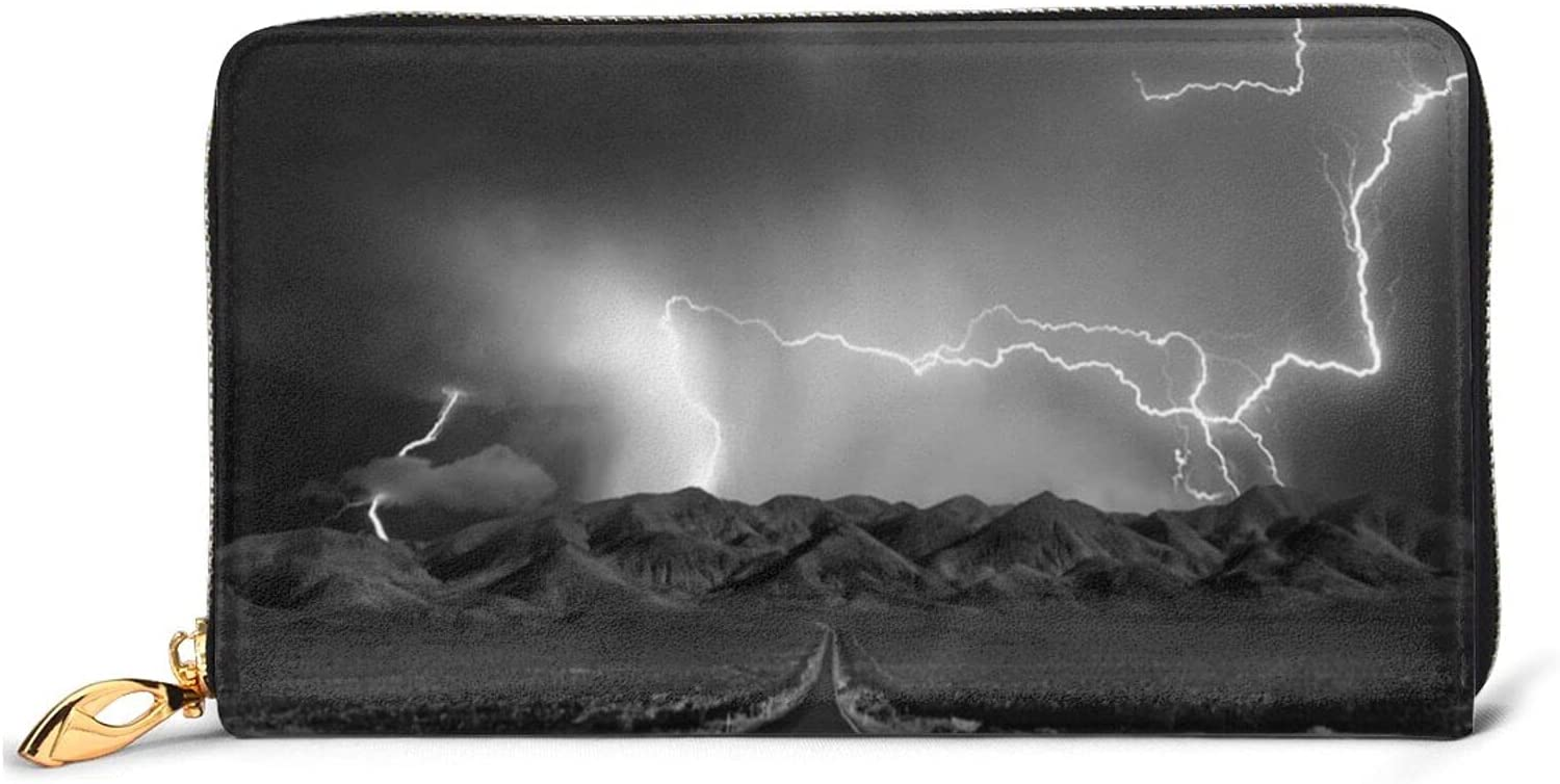 Hubgfeq Leather Wallet Thunder Landscape Max 85% OFF We OFFer at cheap prices Print Le Genuine