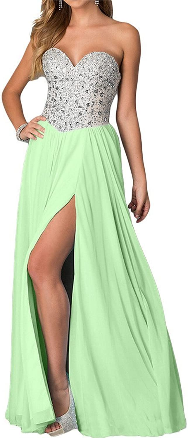 Angel Bride Charming Beaded Prom Dresses Evening Long with Thigh Split