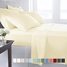Pizuna 400 Thread Count Long Staple Cotton Satin Queen Size Elastic Fitted Sheet with 2 Pillow Covers (Solid Ivory/Cream)