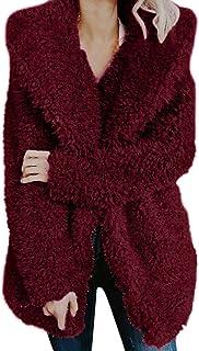 Lmtime Womens Cotton Linen Coats Fluffy Faux Fur Zipper Outwear Hooded Long Sleeve Plus Size Overcoat
