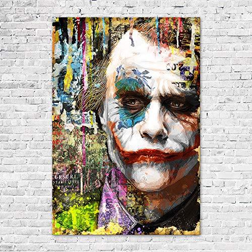 Zabarella Tableau Joker Vintage Toile imprimée sur châssis Pop Art Décoration Murale Salon Chambre (60cm x 90cm) (23inch x 35inch)