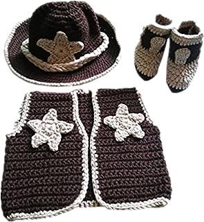 Newborn baby boys Photo Prop Crochet Cowboy Set Hat Vest Boots Costume
