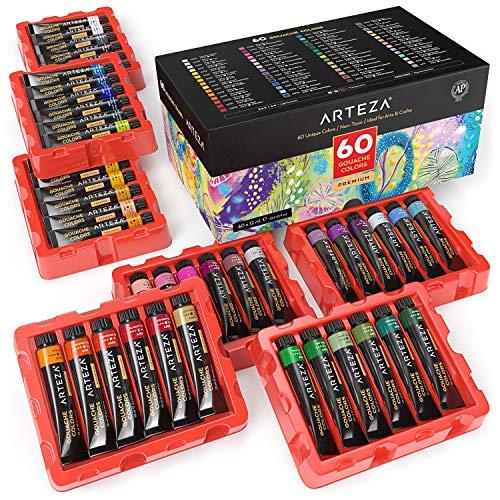 Arteza Set de pintura gouache | 60 tubos de 12 ml | Gouaches de colores opacos | para pintar lienzos, en papel de bocetos, o mezcladas con acuarela y medios mixtos