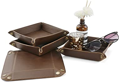 Ranslen 4 Pack Leather Valet Tray for Men Women, Thicken Desktop Catchall Tray Bedside Tray Jewelry Organizer for Key Wallet