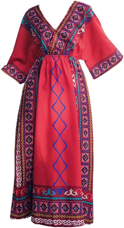 99ea8bac14aae Women Long Skirt Women Bohemian Beach Dress Sundress V Neck Boho ...