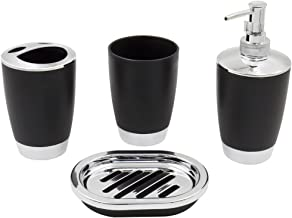 Merayo 4 Pieces Bathroom Set/Accessories-Gift Package- Dispenser, Toothbrush Holder, Tumbler & Soap Dish, Black Color