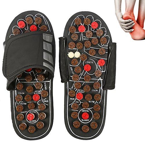 Magnet Therapie Massage Schuhe Fußreflexzonen Akkupressur Blut Aktivierende Gesundheits Massage Pantoffel (40-41-Brown Rotierenden acht Diagramme)