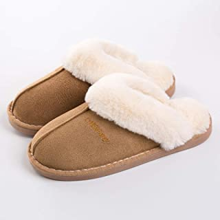 Women's Winter Warm Cotton Slippers Women's Men's Slippers Couple Cotton and Linen Lovers Home Slippers Indoor Plush Large Home Shoes Zhaozb (Color : Gold, Size : 36)
