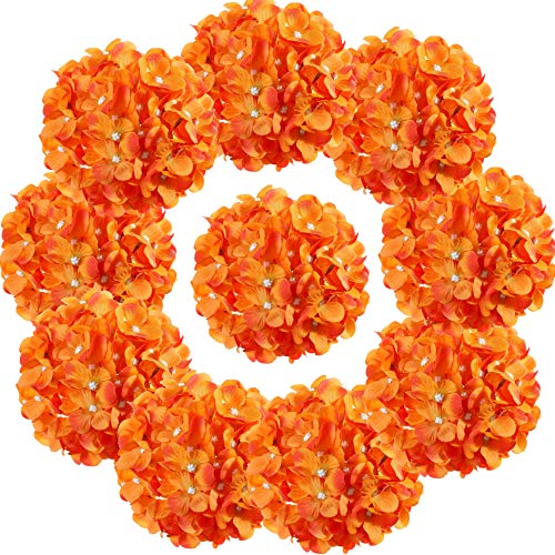 LUSHIDI Silk Hydrangea Heads with Stems Artificial Flowers Heads for Home Wedding Decor,Pack of 10 (Orange)
