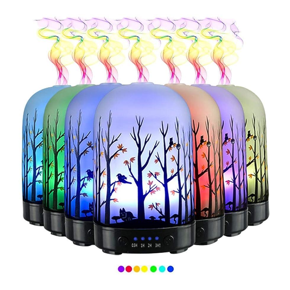 受粉者著作権どきどきエッセンシャルオイル用ディフューザー (100ml)-3d アートガラスハッピーフォレストアロマ加湿器7色の変更 LED ライト & 4 タイマー設定、水なしオートシャットオフ