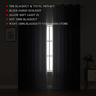 G2000 Blackout Curtains & Drapes for Bedroom Living Room 84 Inches Long Purple and Greyish White Room Darkening Window Tr
