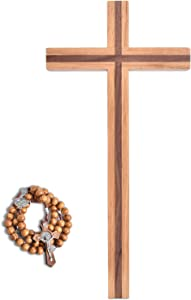 VINETEN Handmade Crucifix Wall Cross - Wooden Cross Give Blessing and The Spiritual Sacred - Catholic Hanging Crucifix for House Decor - 9.8 Inch