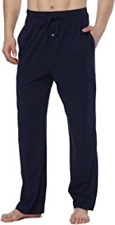 RENZER Men's Pajamas Pants 100% Knit Cotton Sleep Long Lounge Pants