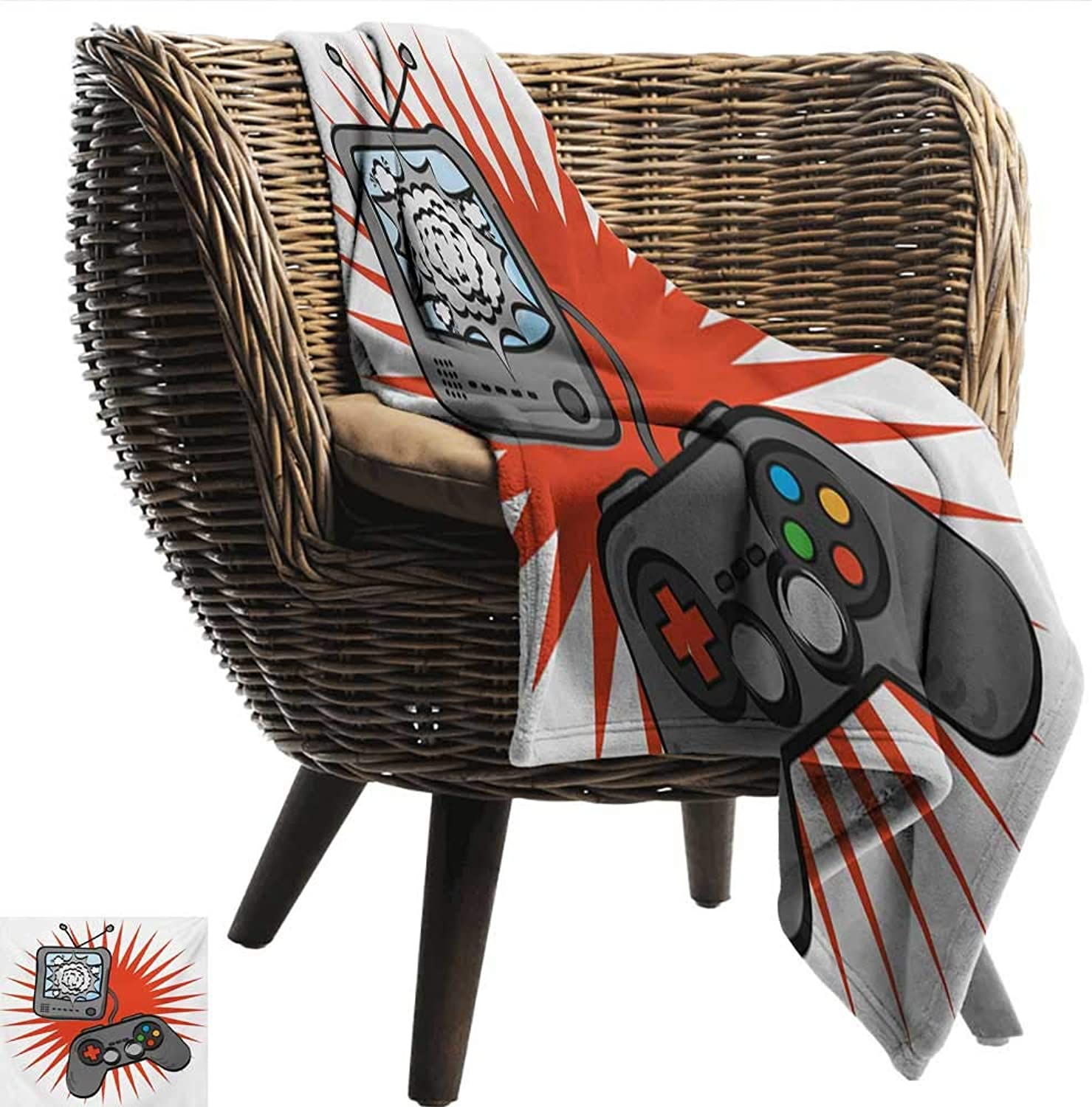 Davishouse Boys Room Reversible Blanket Video Games Themed Design in Retro Style Gamepad Console Entertainment Sofa Chair 60  Wx60 L