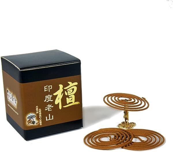 Indo LaoShan Sandalwood Incense Coils 48pcs 3 5hrs With Incense Clip