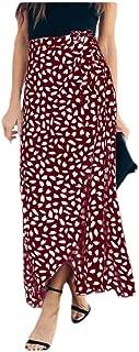 AngelPeace Mujeres Strappy Cintura Alta Regular Ajuste Impreso Maxi Falda