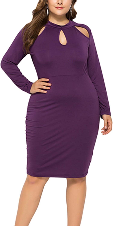 BeLady Women's Plus Size Key Hole Dresses ALine Pleated Midi Dress L4XL