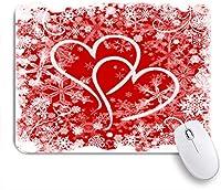 ECOMAOMI 可愛いマウスパッド ハート、雪片、花と赤白イラストバレンタイン背景 滑り止めゴムバッキングマウスパッドノートブックコンピュータマウスマット
