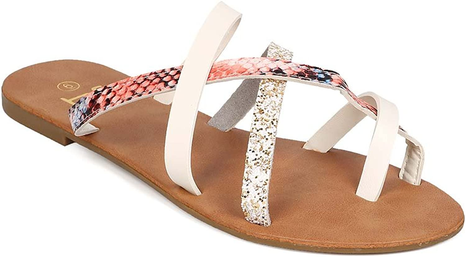 BETANI Women Mixed Media Cross Strap Slip On Flat Sandal EH50 - White