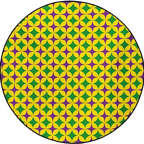 Mardi Gras Polyester Traditional Soft Round Rug for Bedroom Rugs Retro Pattern with Star Figures Circular Motifs Masquerade Design Purple Fern Green Yellow 6.5 ft in Diameter