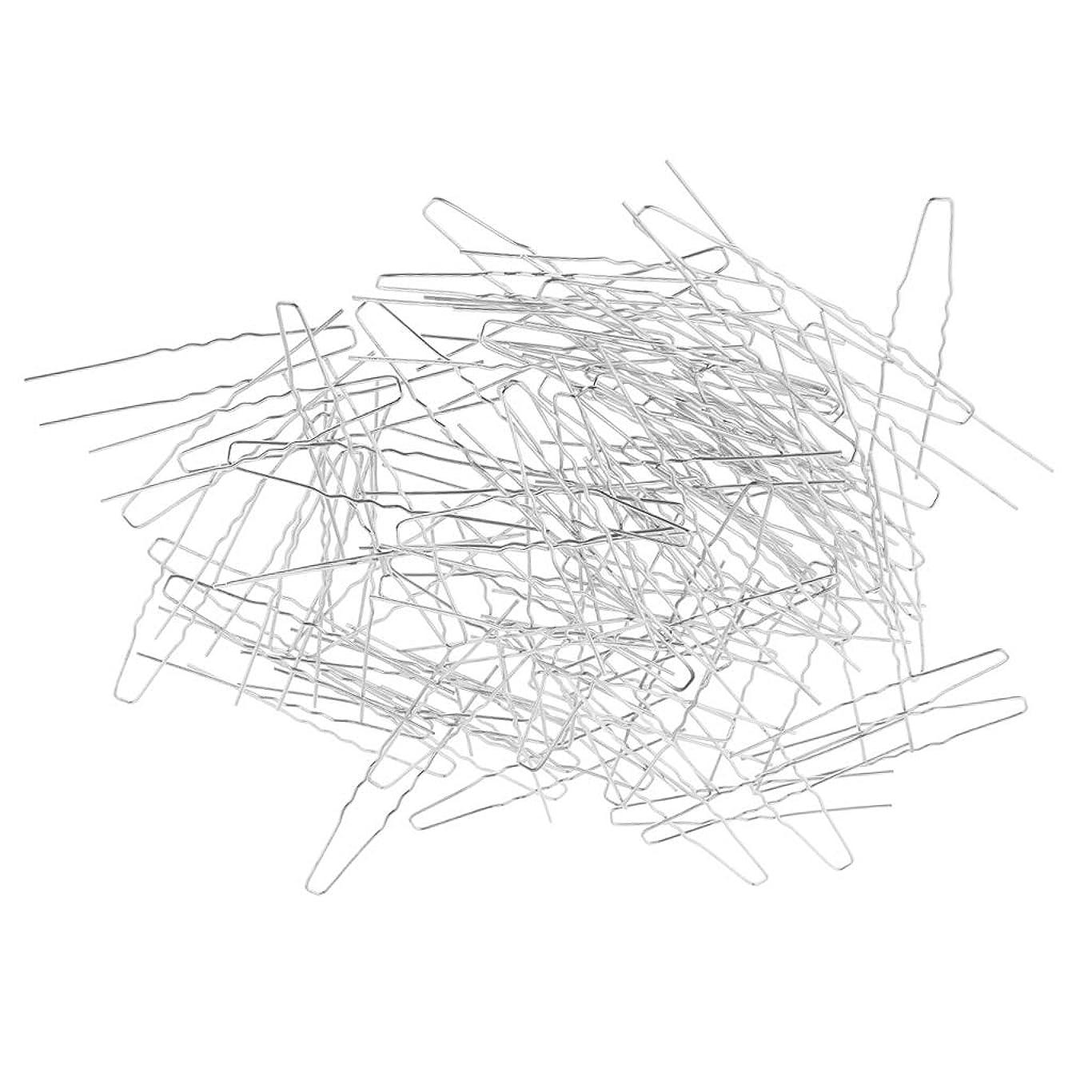 ベックス王朝年齢D DOLITY U型ピン ヘアピン シンプル 髪留め ヘアスタイル 約100個 DIYジュエリー ヘアアクセサリー - 銀