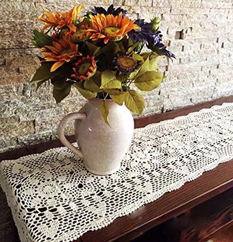Janef Beige Handmade Crochet Cotton Table Runner Lace Doilies Doily...