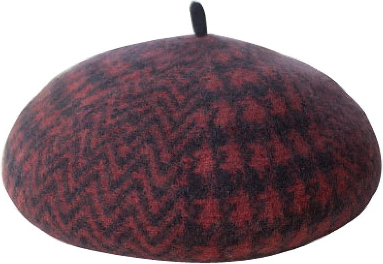 Women Houndstooth Wool Beret Hat Striped Plaid Berets Cap Retro Painter Hat Winter Warm Ladies Girls Hats