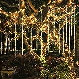 Guirnalda Luces Exterior, 10 Tubo 30cm 300 LEDs IP65 Impermeable luz Navidad, Impermeable Iluminacion Jardin Decorativas Fiestas(Blanco Cálido)