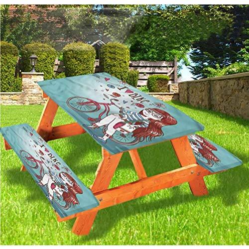 Mantel ajustable para mesa de picnic y banco de dibujos animados, una niña con borde elástico para bicicleta, 28 x 72 pulgadas, juego de 3 piezas para camping, comedor, al aire libre, parque, patio