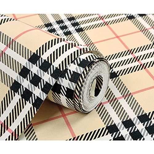 Zcxbhd England Kariert PVC-Tapeten-Rolle Modern Minimalistisch Aufkleber Zum Wohnzimmer Schlafzimmer Hintergrund Dekoration 10 M × 0,53 M/Rolle (Color : Beige)