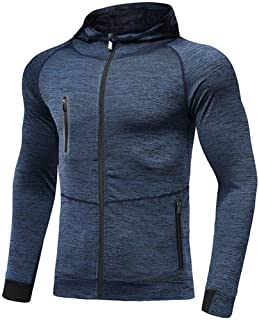 Mens Lightweight Gym Hoodies Zip Up Running Jacket Quick Dry Workout Hoody Breathable Hooded Sweatshirt Comfy Jogging Fitn...