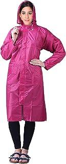 Malvina Girl's PVC Hooded Rain Coat, Overcoat with Hidden Collar Pocket for Cap (Pink)