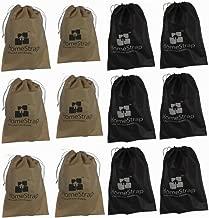 HomeStrap Shoe Pouch/Bag/Organiser - Black & Beige - Set of 12