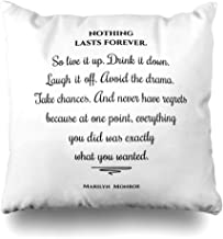 Ahawoso Decorative Throw Pillow Cover Square 16x16 Nothing Custom Last Gray Forever Marilyn Quote Cats Bride Work Inspirational Print Greetings Kitten Cushion Case Home Decor Zippered Pillowcase