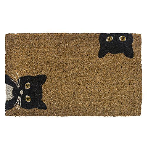 Entryways Peeping Cats Hand-Stenciled, All-Natural Coconut...
