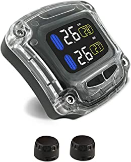 CHLJ TPMS Tire Pressure Monitoring System with 2 External Sensors (2315Mm) Sunscreen LCD Screen Display, Motorcycle Tire Professional Monitoring Tools,Black