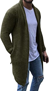Mens Shawl Collar Cardigan Sweater Knit Baggy Open Front Jumper with Pocket