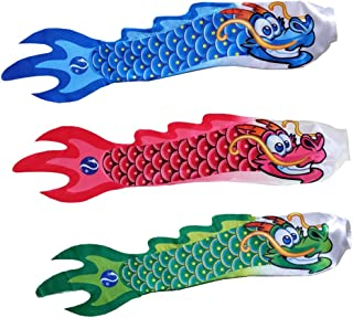 3PCS Chinese Dragon Windsock, Wind Streamer, Camping Spinner, Hanging Flags for Outdoor Garden Boat Decoration - Hot Pink & Black