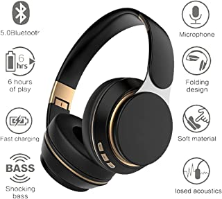 $39 » Bluetooth Over-Ear Headphones,TechCode Foldable Bluetooth 5.0 Earphone with Mic Noise Cancelling Over Ear Stereo Headphone, Soft Protein Earpads,Wired Mode/TF Card Play/FM Headset for Men Women,Black