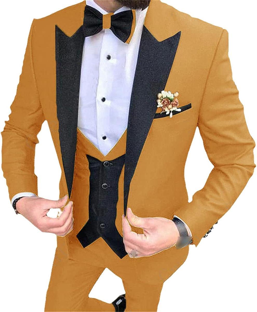 Classic Men's Suit Wedding Elegant 3-Piece Suit Men's Formal Suit Yellow Purple Gentleman Men's Formal Suit