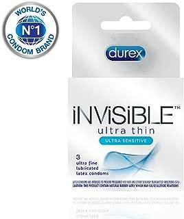Durex Invisible Ultra Thin & Ultra Sensitive Premium Condoms, 3 Count