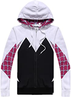 Alwoe Kids/Unisex Adult 3D Clothing Gwen Spider Cosplay Zipper Hooded Sweatshirt