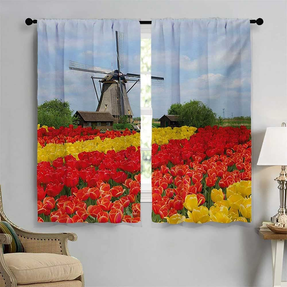 Windmill Room Darkening Curtains Rows Colorful Genuine Nort Tulips Price reduction of in