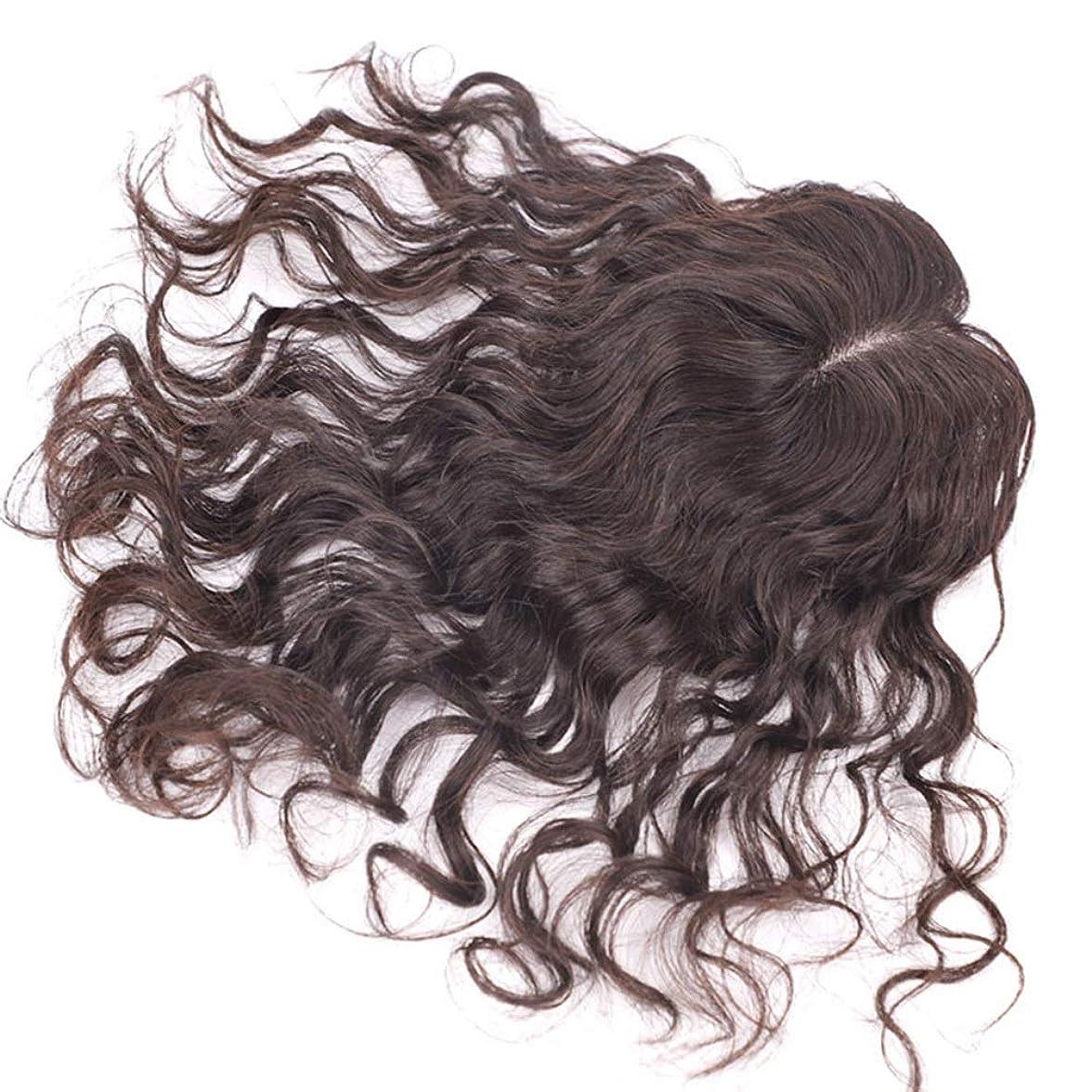 相関する発送真空Yrattary 女性のための優雅なウェーブのかかった髪100%の本物の人間の髪の毛フルハンドウィッグウィッグパーティーかつら (Color : [9x14] 35cm dark brown)