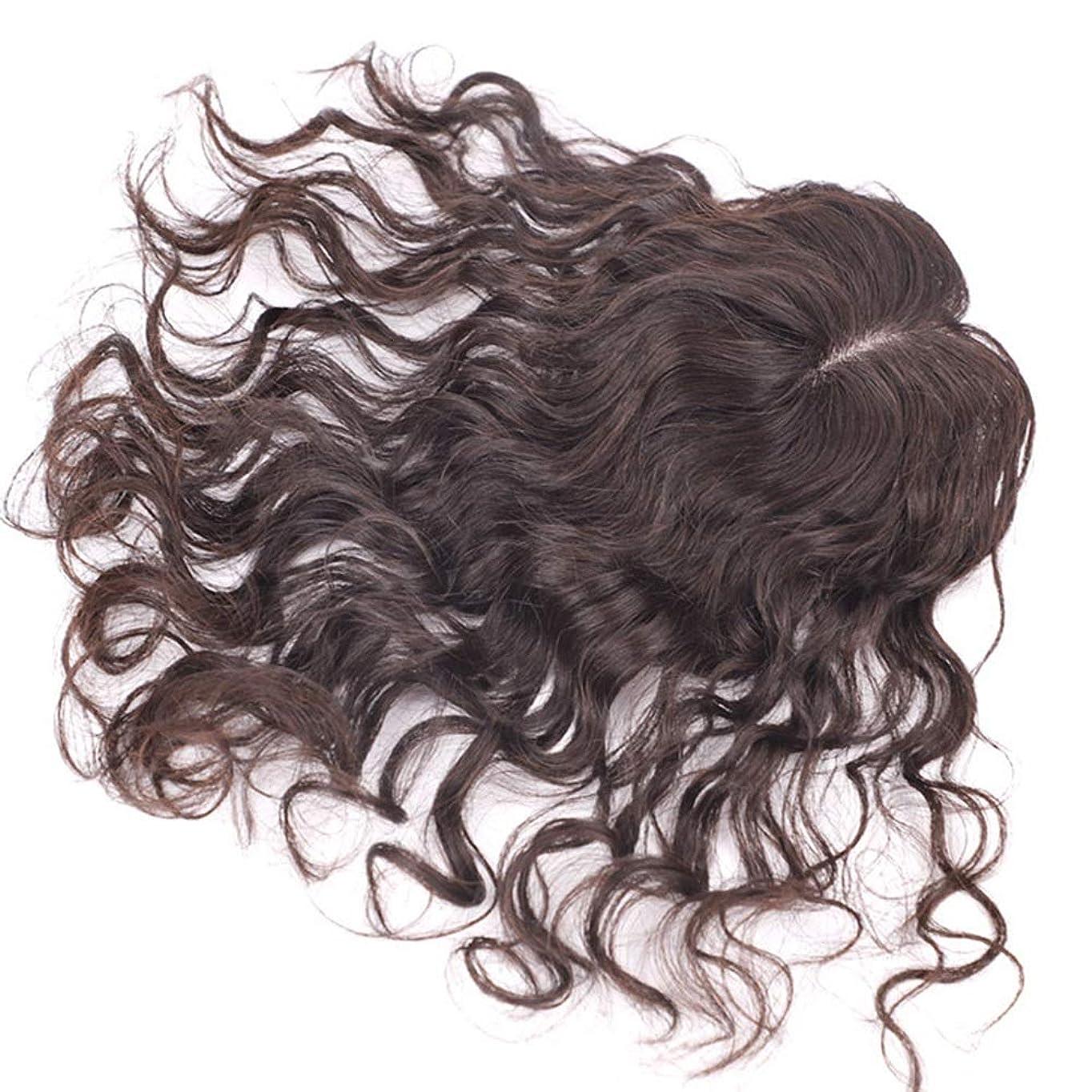 影響行傷つきやすいYrattary 女性のための優雅なウェーブのかかった髪100%の本物の人間の髪の毛フルハンドウィッグウィッグパーティーかつら (Color : [9x14] 35cm dark brown)